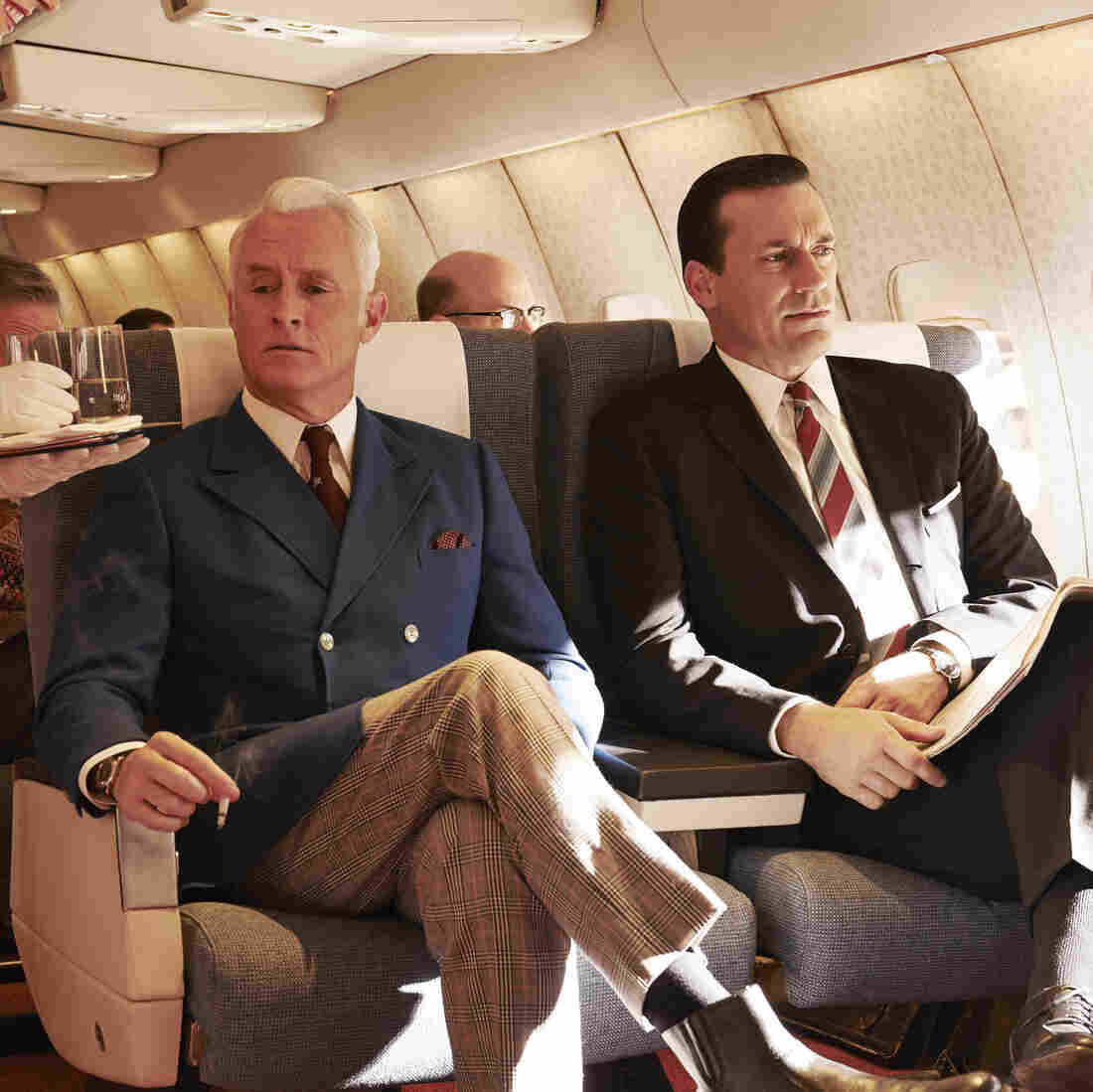 John Slattery (left) reprises his role as Roger Sterling in the seventh and final season of Mad Men.
