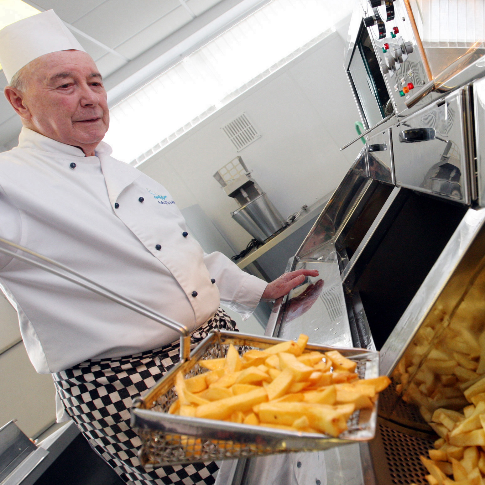 Potatoes meet oil in a chip-frying class a the National Federation of Fish Fryers headquarters in Leeds, England.