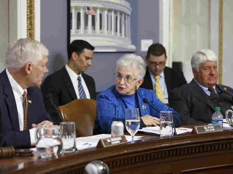 House Rules Committee member Rep. Virginia Foxx, R-N.C., is flanked by Chairman Pete Sessions, R-Texas (left), and Rep. Rob Bishop, R-Utah (right), as the panel works May 7 on the creation of a special select committee to investigate the 2012 attack on the U.S. diplomatic outpost in Benghazi, Libya, that killed the ambassador and three other Americans.