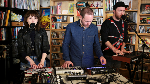 Chvrches performs at a Tiny Desk in April 2014. (Meredith Rizzo/NPR)