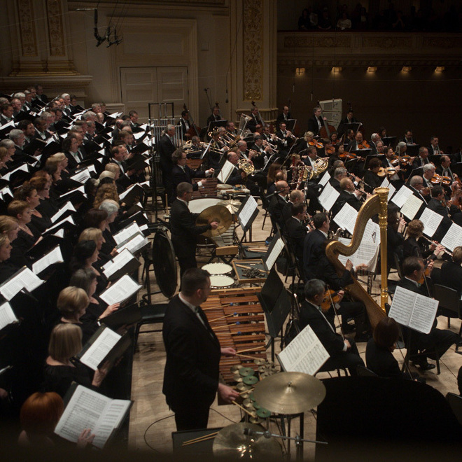 James Conion leads the Cincinnati Symphony Orchestra and Chorus at Carnegie Hall in New York, NY on May 09, 2014.