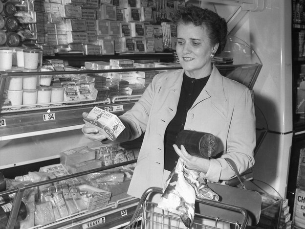 Rep. Coya Knutson (D-Minn.), is shown shopping in a supermarket in 1955 following her demand to know why her fellow housewives remain saddled with high grocery bills while farm income continues to drop.