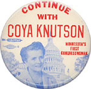 Late 1950s-era Coya Knutson campaign button.