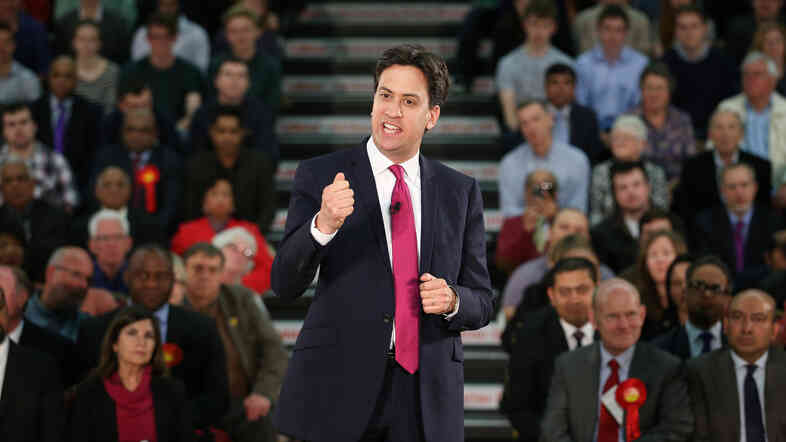 The leader of Britain's opposition Labour Party, Ed Miliband, speaks to supporters earlier this month in London. His party and the ruling Conservative Party have both hired former advisers to President Obama in advance of Britain's national election next year.