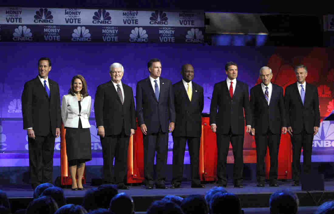 The RNC wants to see many fewer of these presidential debate scenes in 2016. Before a November 2011 Michigan showdo