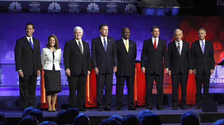 The RNC wants to see many fewer of these presidential debate scenes in 2016. Before a November 2011 Michigan showdown, from left: former Pennsylvania Sen. Rick Santorum; Minnesota Rep. Michele Bachmann; former House Speaker Newt Gingrich; former Massachusetts Gov. Mitt Romney; businessman Herman Cain; Texas Gov. Rick Perry; Texas Rep. Ron Paul; former Utah Gov. Jon Huntsman.