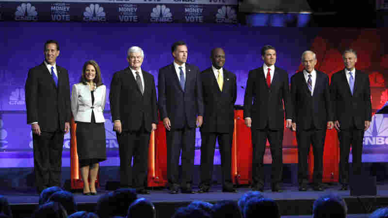 The RNC wants to see many fewer of these presidential debate scenes in 2016. Before a November 2011 Michigan showdown, from left: former Pennsylvania Sen. Rick Santorum; Minnesota Rep. Michele Bachmann; former House Speaker Newt Gingrich; former Massachusetts Gov. Mitt Romney; businessman Herman Cain; Texas Gov. Rick Perry; T