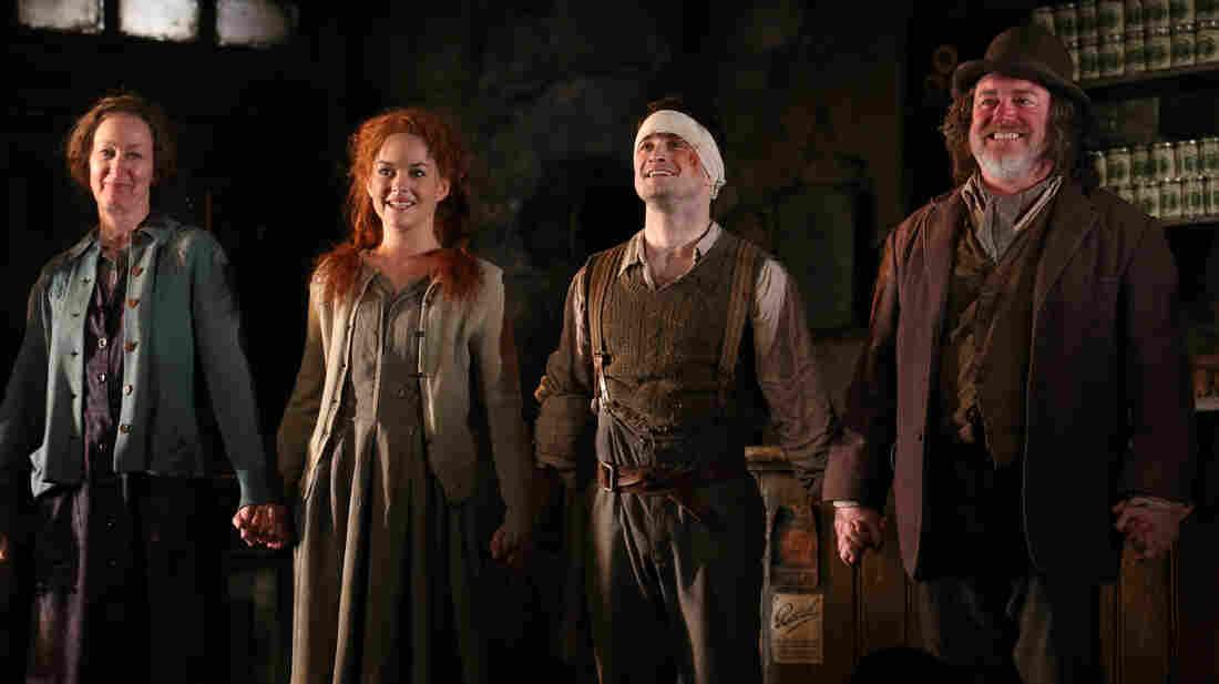 Ingrid Craigie, Sarah Greene, Daniel Radcliffe and Pat Shortt at the opening night curtain call of The Cripple of Inishmaan.