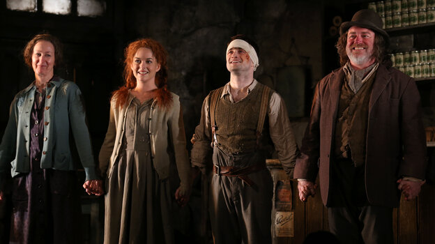 Ingrid Craigie, Sarah Greene, Daniel Radcliffe and Pat Shortt at the opening night curtain call of The Cripple of Inishmaan.