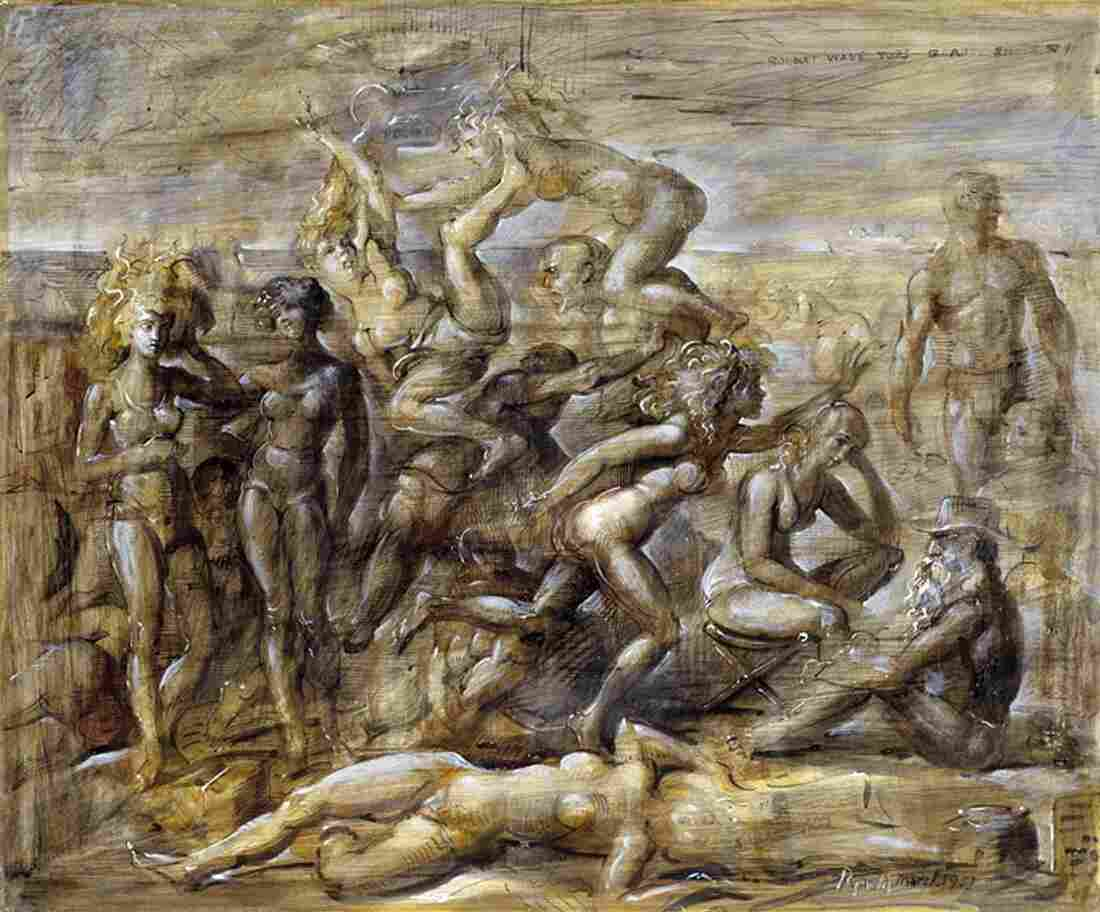 Ashcan School painter Reginald Marsh taught Sara Roby, who was an amateur artist. Above, Marsh's 1951 work, Coney Island Beach.