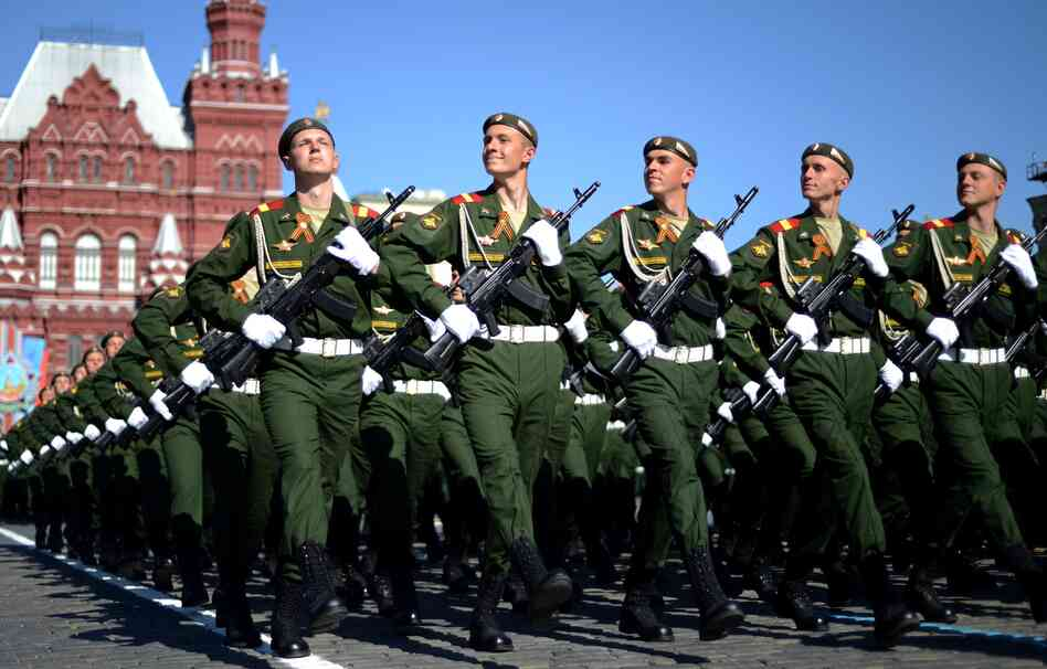 Russian soldiers march in Moscow's Red Square during Friday's Victory Day parade, a show of military might amid tensions in Ukraine following Moscow'