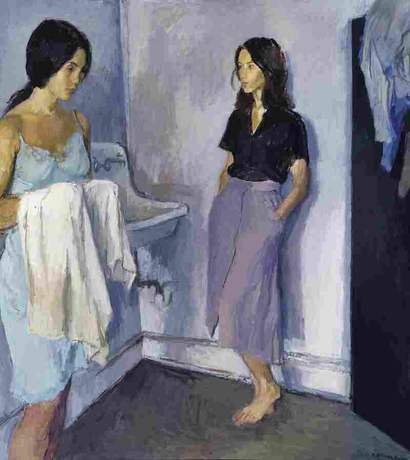 Two pensive women share a mysterious, intense moment in Raphael Soyer's 1980 Annunciation.