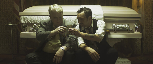 Philip Seymour Hoffman (left) and Eddie Marsan, in a scene from the film, God's Pocket.