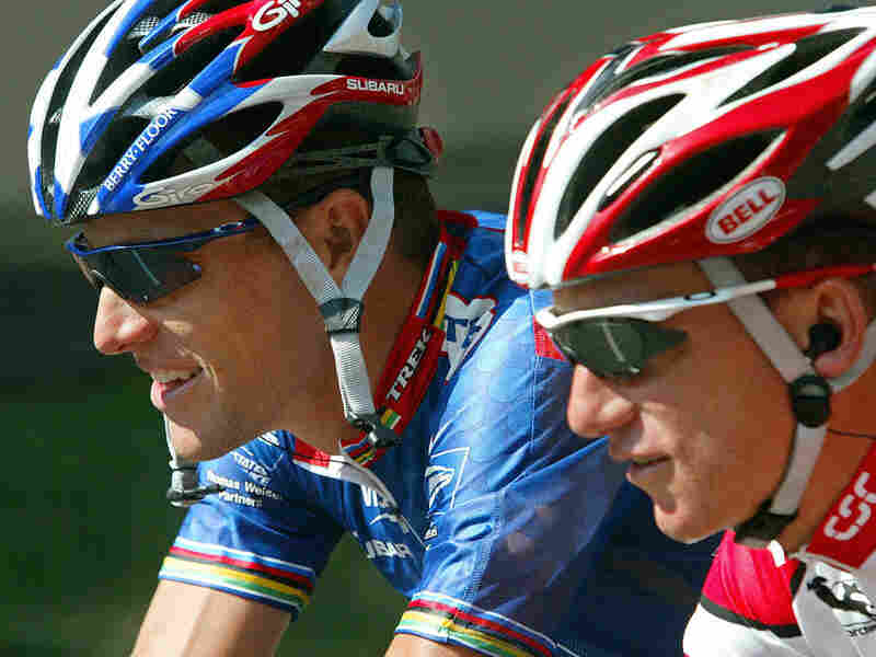 Lance Armstrong (left) and Tyler Hamilton compete in the 90th Tour de France in 2003. Hamilton later testified in the doping case brought against Armstrong and the U.S. Postal cycling team