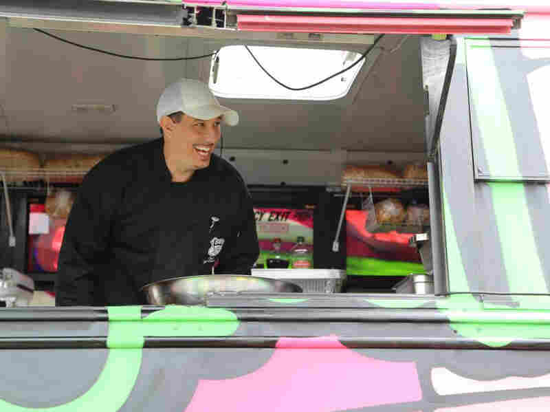 MagicalButter Executive Chef Joey Galeano works in the food truck.