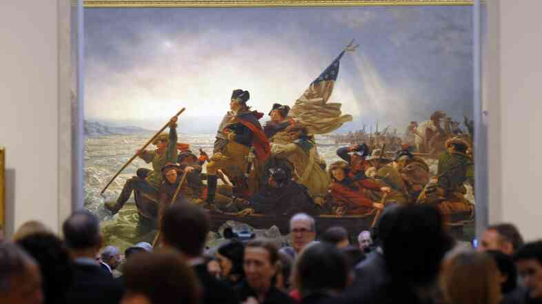 "Emanuel Gottlieb Leutze's 1851 painting ""Washington Crossing the Delaware"" seen at the Metropolitan Museum of Art in 2012."