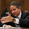 Then-Treasury Secretary Timothy Geithner testifies before the House Financial Services Committee in 2012. He says he struggled with communicating why he had to help the banks during the financial crisis.