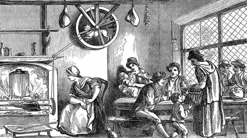 A turnspit dog at work in a wooden cooking wheel in an inn at Newcastle, Carmarthen, Wales, in 1869.