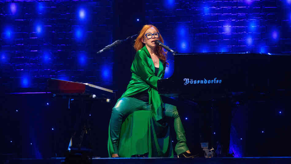 Tori Amos on stage in Glasgow, three days before the release of her 14th studio album, Unrepentant Geraldines.