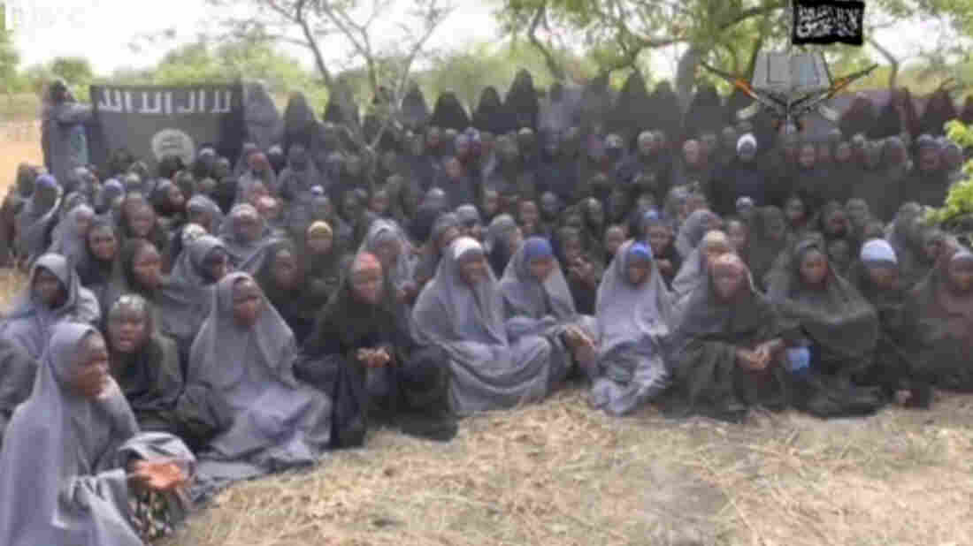 A still image taken from a video that the extremist group Boko Haram says is of more than 100 girls who were abducted from a Nigerian school last month.