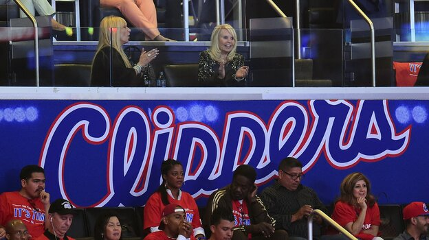 Shelly Sterling (top right), wife of embattled L.A. Clippers owner Donald Sterling, watches Friday's Ga