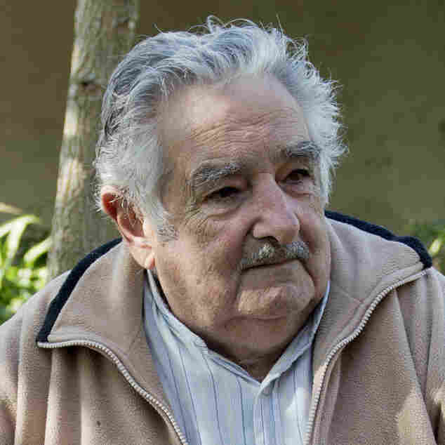 Uruguay's President Jose Mujica, who is known for his modest lifestyle, sits outside his home on the outskirts of Montevideo earlier this month. Under his leadership, Uruguay legalized marijuana, from the growing to the selling.