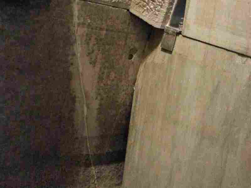 A repaired crack inside the Washington Monument.