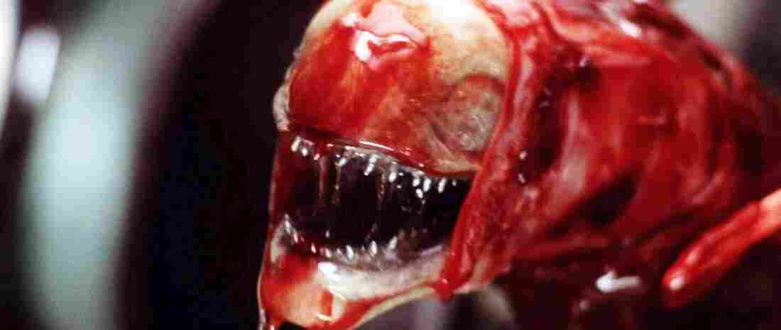 "The ""chestburster"" is one of the many deeply unsettling images of 1979's Alien, probably the best-known work of designer H.R. Giger. Giger's original chestburster design changed substantially as he inched toward this final version with director Ridley Scott and others."