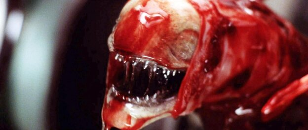 """The """"chestburster"""" is one of the many deeply unsettling images of 1979's Alien, probably the best-known work of designer H.R. Giger. Giger's original chestburster design changed substantially as he inched toward this final version with director Ridley Scott and others."""