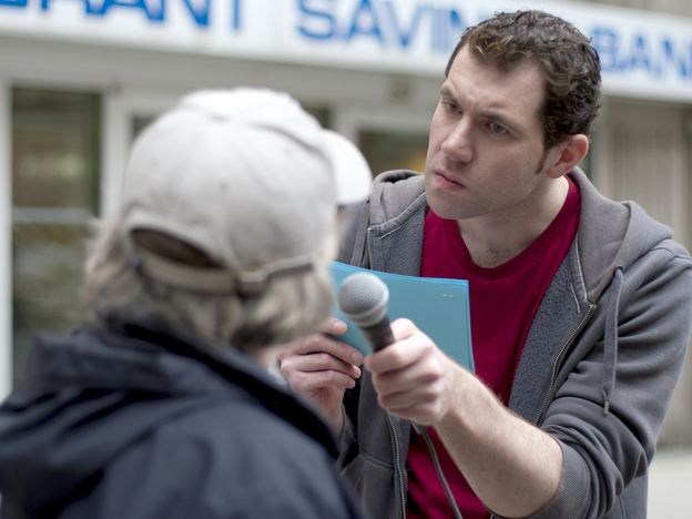 Billy Eichner's series <em>Billy on the Street</em> is an example of a project that was developed at Funny or Die and now lives on cable television.