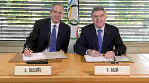 International Olympic Committee President Thomas Bach and Comcast Corp. chairman Brian Roberts signed an agreement this month that secures U.S. broadcast rights for NBC Universal through 2032.