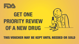 A Monopoly-style card illustrates the voucher that can be redeemed with the Food and Drug Administration for priority review.