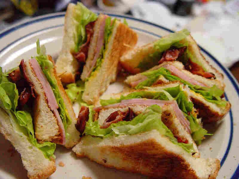 Traditional club sandwich on toast.