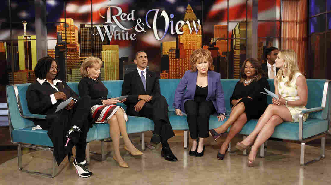 President Obama appears alongside Barbara Walters on The View in 2012.