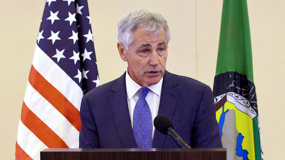 Defense Secretary Chuck Hagel speaks during a news conference after attending the Gulf Cooperation Council meeting in Jiddah, Saudi Arabia, on Wednesday. Hagel confirmed that the U.S. was using drones to search for 270 kidnapped Nigerian schoolgirls.