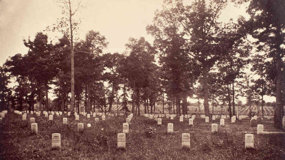 Arlington National Cemetery, in Virginia, 1865. During the Civil War, the United States established the cemetery on land belonging to the family of Robert E. Lee.