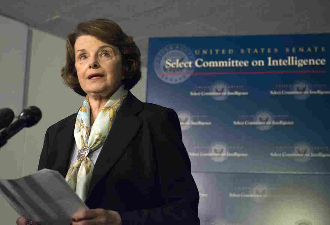 "Dianne Feinstein, chairwoman of the Senate Intelligence Committee, speaks to reporters in April. She tells NPR she's ""not particularly"" comfortable with the CIA vetting the ""Torture Report."""