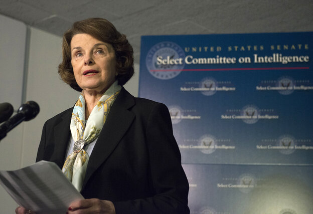 "Dianne Feinstein, chairwoman of the Senate Intelligence Committee, speaks to reporters in April. She tells NPR she's ""not part"
