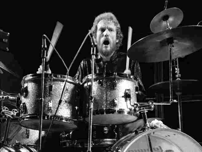 Ginger Baker, performing live in 1975.