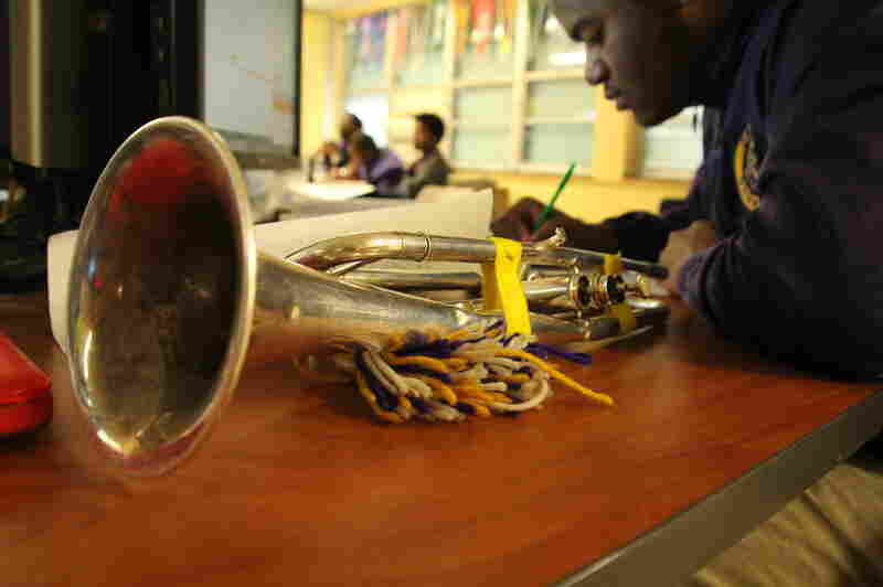 "Music is so important at Edna Karr that some kids tote their instruments to class. ""Band is everything for some of our kids,"" says Assistant Principal Margaret Leaf. ""It gives them an identity."""
