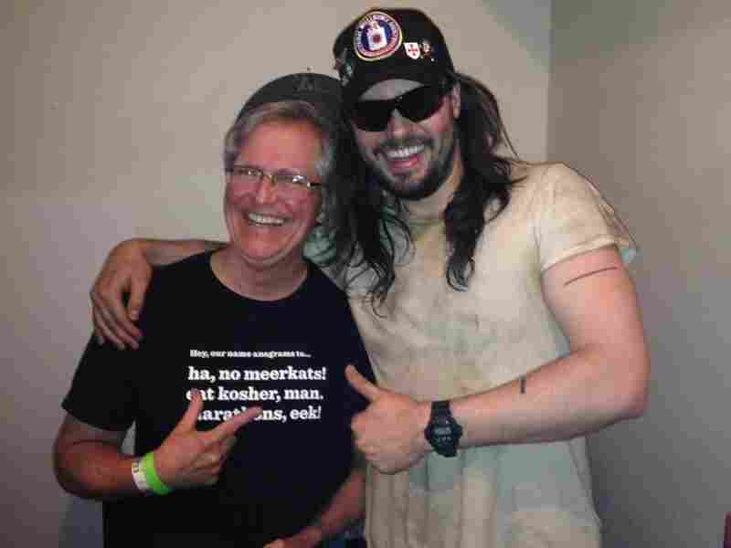 Ask Me Another winner Jim Naugle hangs out with Andrew W.K. backstage at Andrew's NYC show.