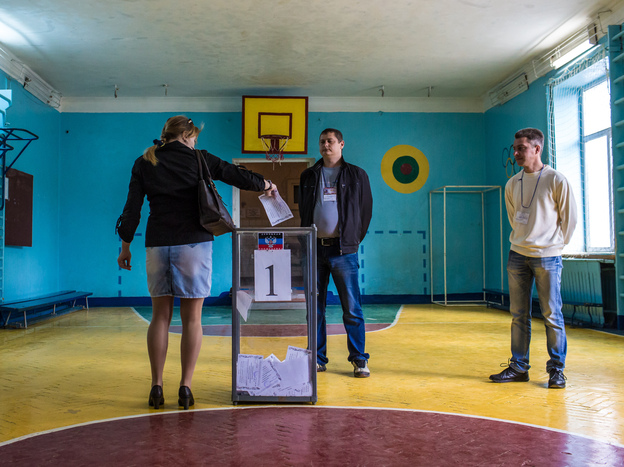 A woman casts her ballot at a polling station on May 11 in Hartsizk, Ukraine. Pro-Russian separatists are claiming independence after the referendum in cities across eastern Ukraine.