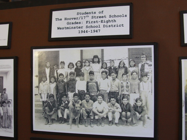 Students of the segregated Hoover and 17th Street schools pose for a school photo. Gonzalo Mendez Jr., one of the Mendez kids, was in this class.