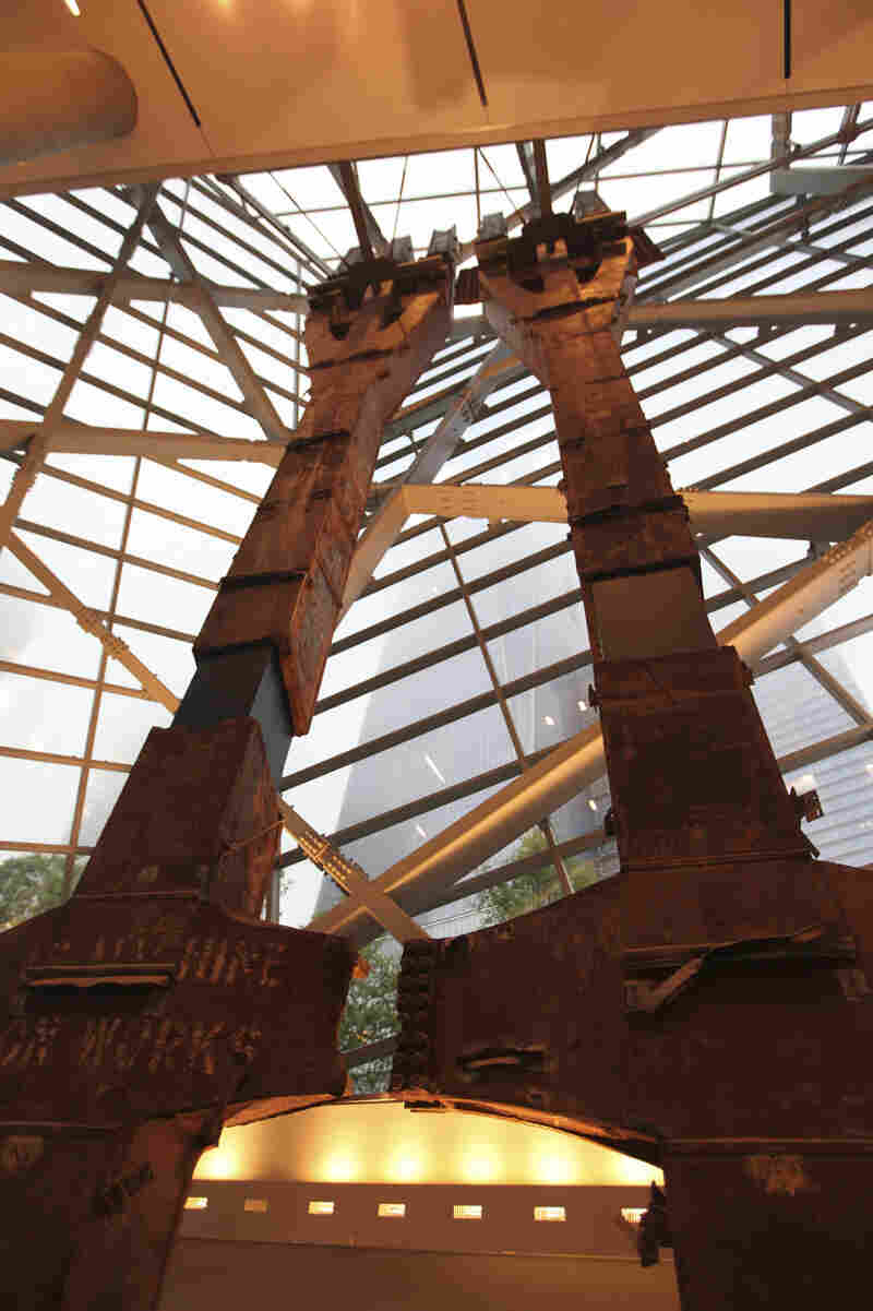 "These steel ""tridents,"" located in the museum's entry pavilion, once formed part of the exterior structural support of the north tower."