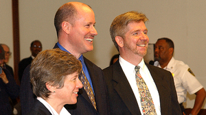 Bonauto with Edward Balmelli and Michael Horgan, plaintiffs in the landmark case that legalized gay marriage in Massachusetts.