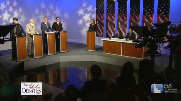 The four candidates for Idaho governor (left) at Wednesday's GOP gubernatorial debate. The debate was held at Idaho Public Television studios.