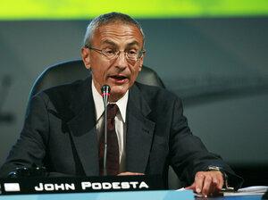 John Podesta speaks at the National Clean Energy Summit 2.0 in Las Vegas in August 2009.