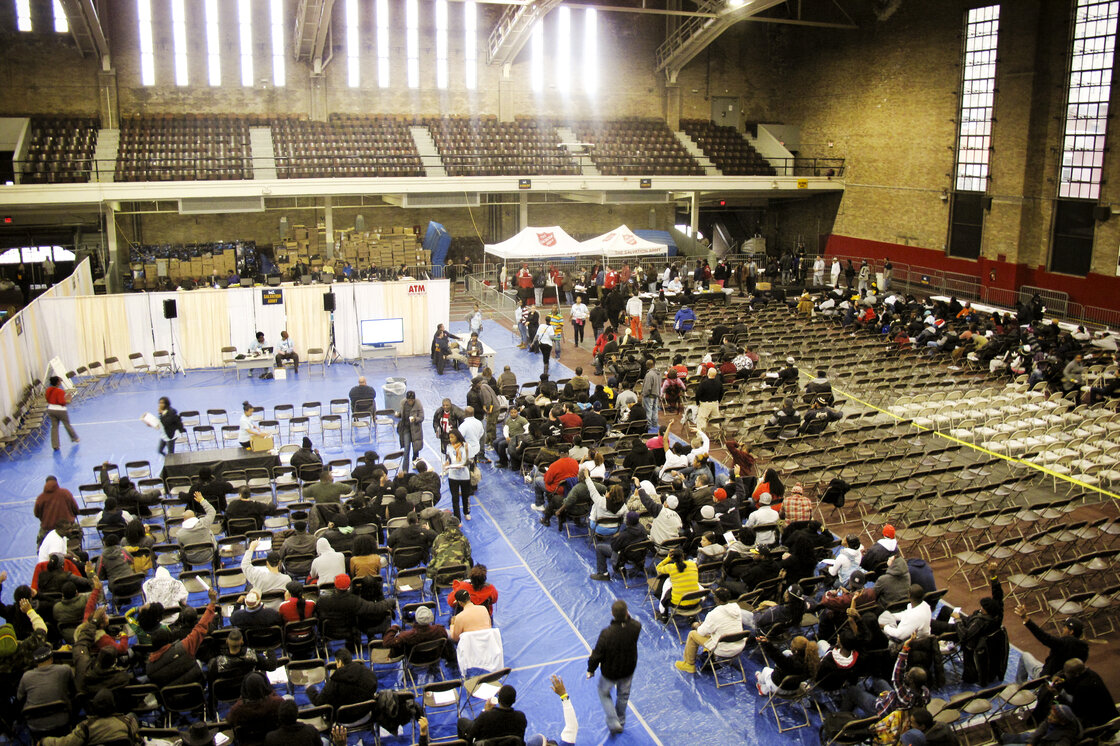 Those seeking to adjudicate their cases then go across the street to the New Jersey City Armory, where they wait for judges to review their cases.