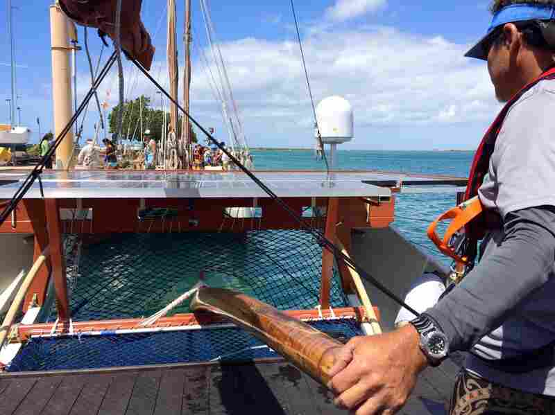 David Komine Kawika, a crew member on the Hikianalia, Hokulea's sister canoe.
