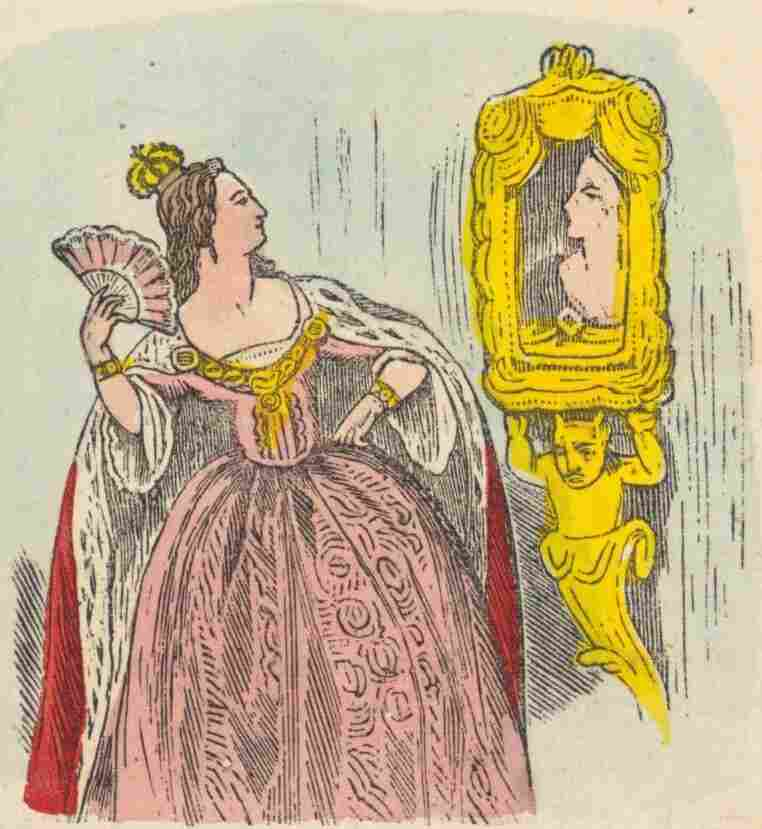 "An 1852 illustration shows Snow White's evil stepmother gazing into her magic mirror. Her famous question includes an ambiguous word: ""fairest."""